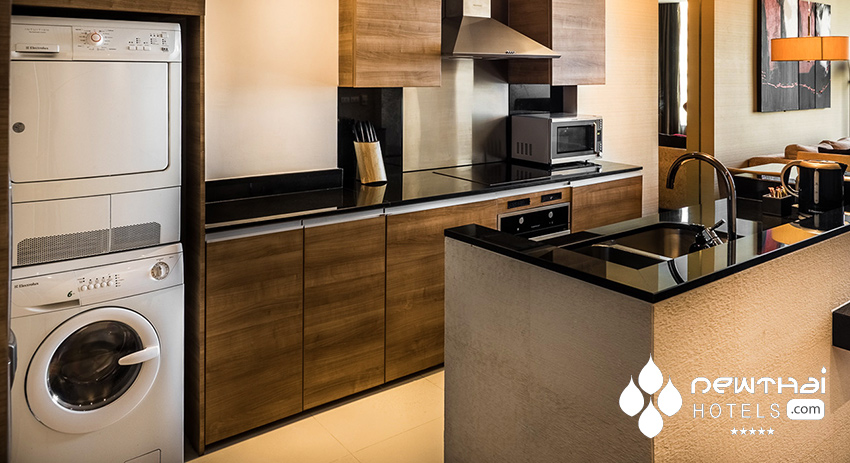 Full sized, fully equipped kitchen at akyra Thonglor Bangkok