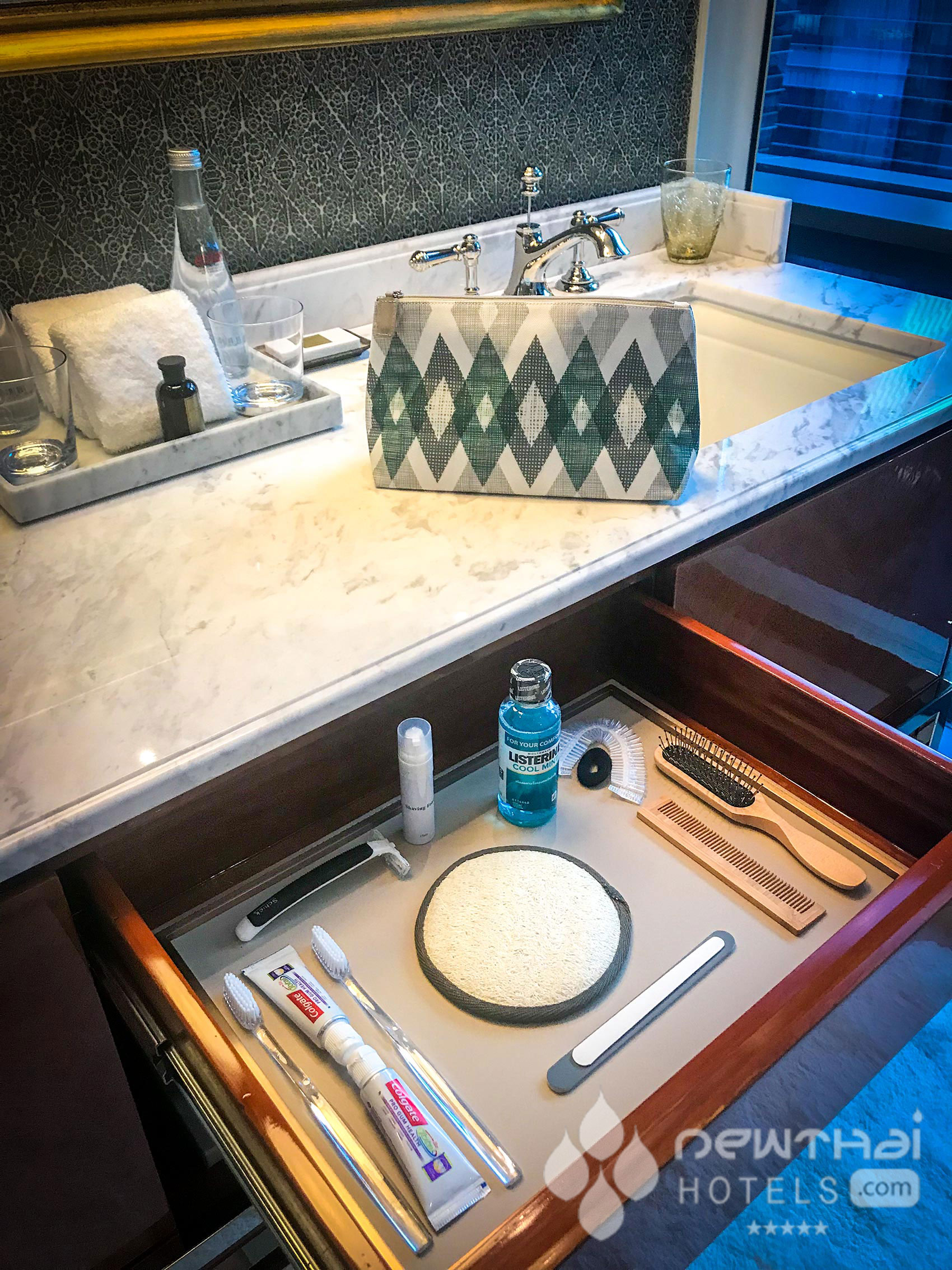 Bathroom amenities at Rosewood Bangkok