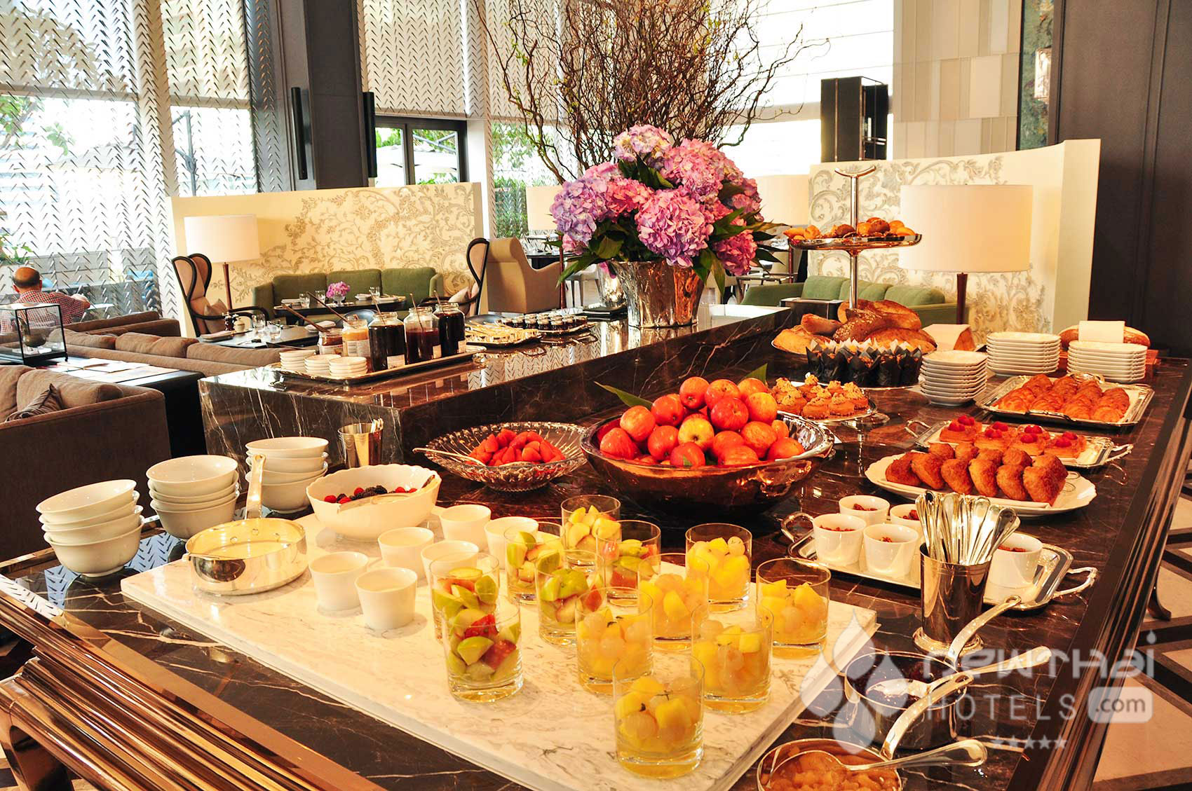 breakfast setup at Lakorn at Rosewood Bangkok