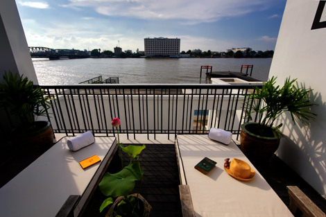 Rooftop lounge overlooking the Chao Phraya River from the pool villa at The Siam
