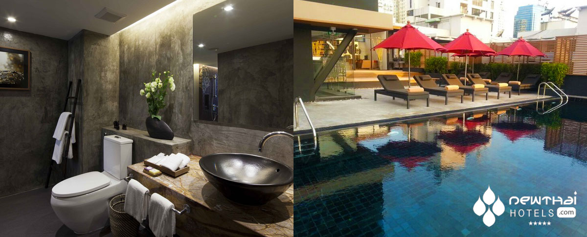 Photos of the bathroom and pools at U Sukhumvit Bangkok