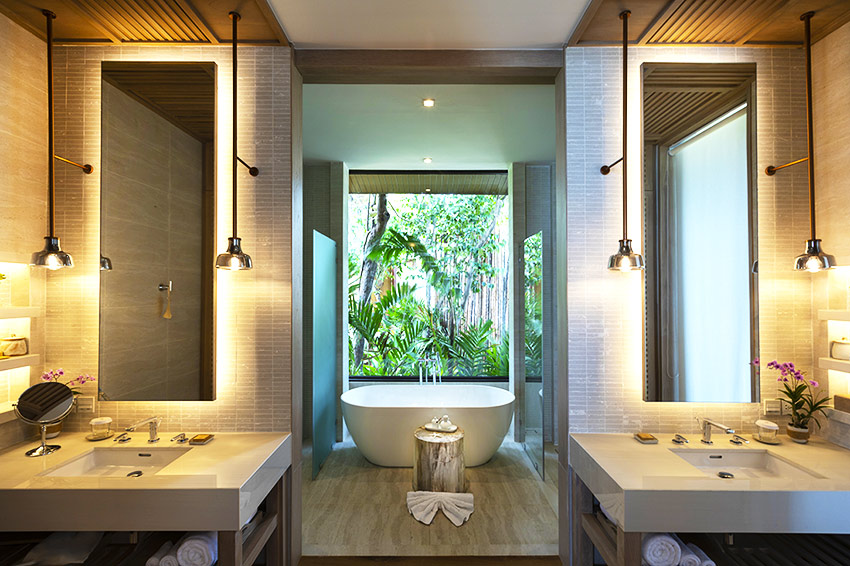 Bathroom in the Ocean View Villa at Cape Fahn Hotel Samui