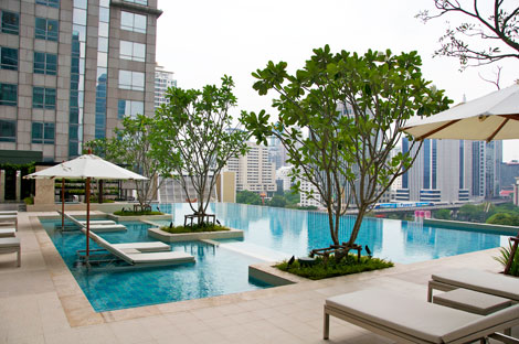 Construction of Central Embassy and Park Hyatt Bangkok from Sivatel pool deck.